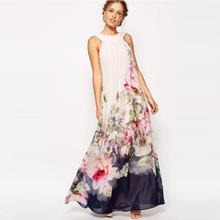 2018夏歐美速賣通ebay吊帶碎花外貿女裝長款數碼印花晚禮服連衣裙