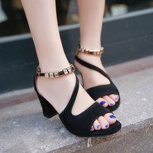 Sandals cao gót nữ thời trang, kiểu dáng đế thô, phong cách trẻ trung