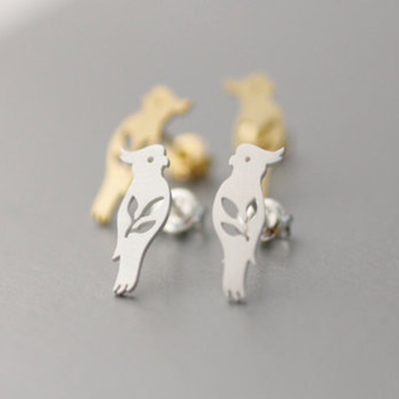 Fashion animal hollow bird parrot alloy earrings NHCU146554