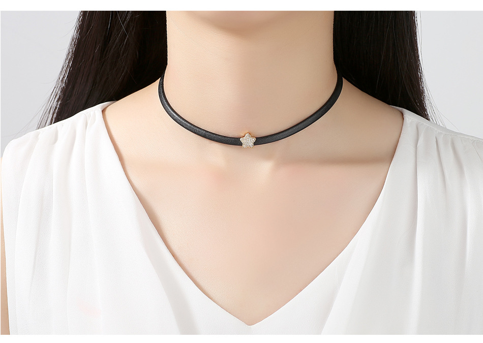 Alloy Korea Geometric necklace  (Champagne Alloy-T10F08) NHTM0494-Champagne-Alloy-T10F08