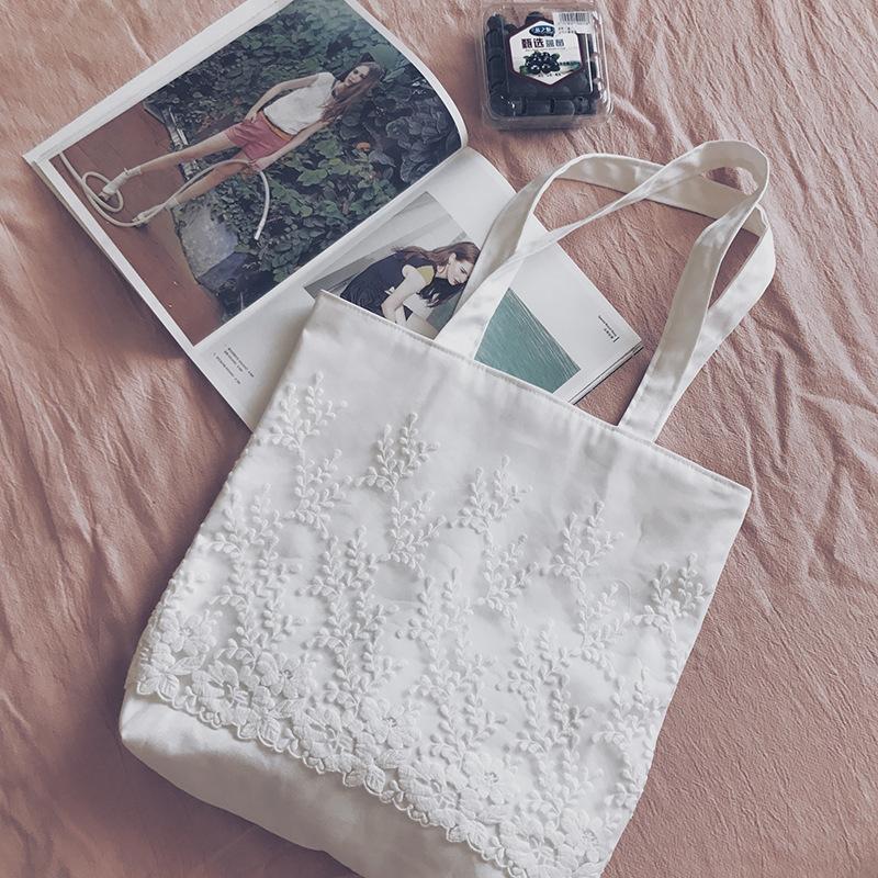 森女系蕾丝帆布袋女包书包简单清新手拎环保单肩包原创包仙女包包
