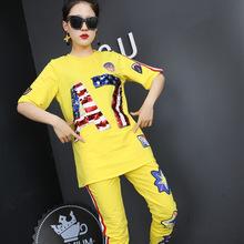 欧洲站2017夏季套装新款潮女装时尚字母休闲气质女款套装厂家直销