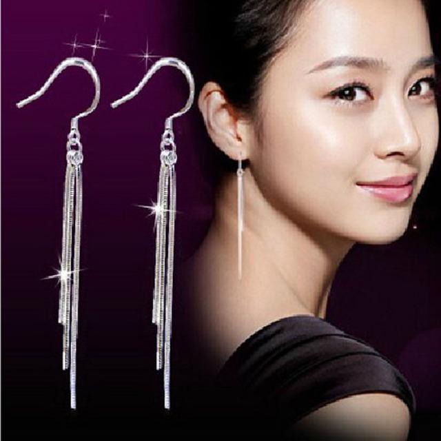 速卖通爆款耳环超长款三线夸张流苏耳坠女韩国时尚气质饰品 礼物