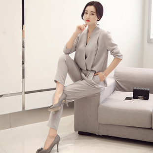 2020 New Year Workplace Women's Long Sleeve V-neck Temperament Professional Two-piece Tops High Waist Trousers Korean Style Trendy White Collar