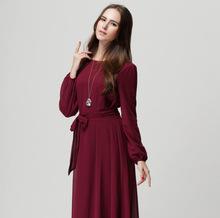 歐美ebay連衣裙長袖背心裙大碼顯瘦腰帶蝴蝶結收腰連衣裙女