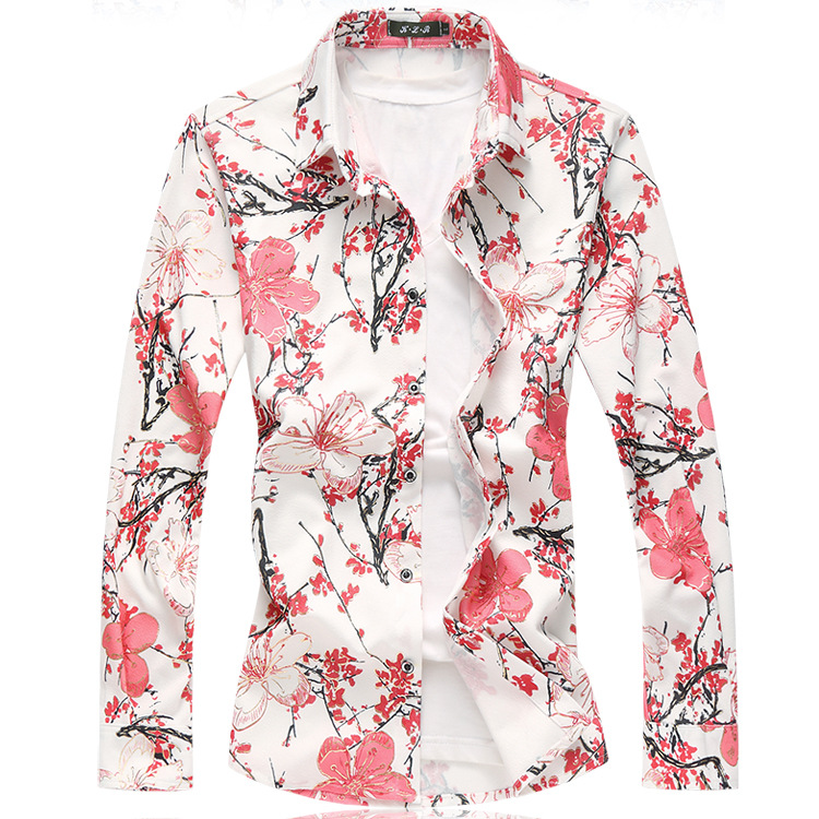 Spring and autumn new men's printed long sleeve slim shirt