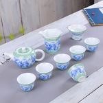 厂家批发手绘扒花青花瓷器高档礼品功夫茶具整套特色茶壶特价定制