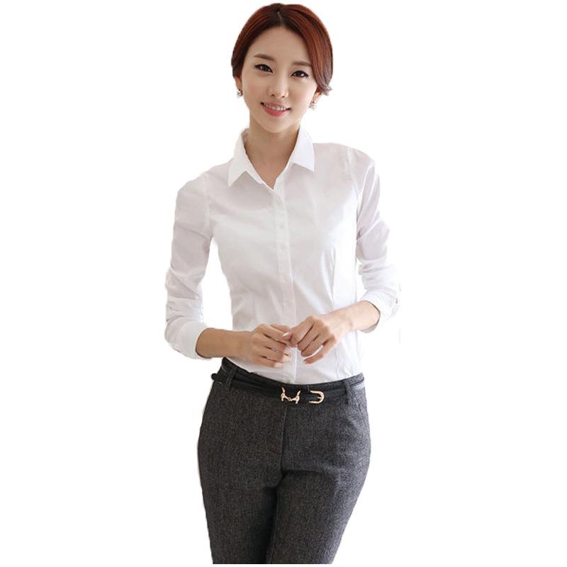 女装白衬衫女长袖韩版装修身显瘦大码正装打底衬衣工作服批发零OL