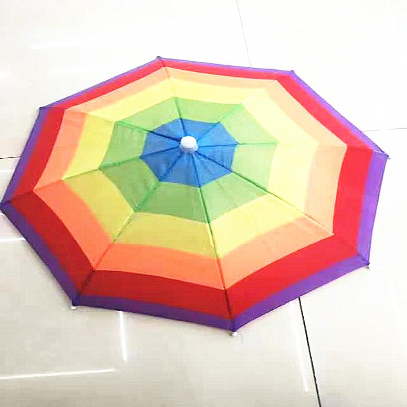 批发头戴帽伞旅游彩虹防紫外线遮阳儿童头伞帽31cm 铁支架松紧带
