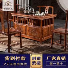 茶桌红木家具功夫小茶桌玲珑泡茶桌?#30340;?#21050;猬紫檀茶艺桌阳台小茶台