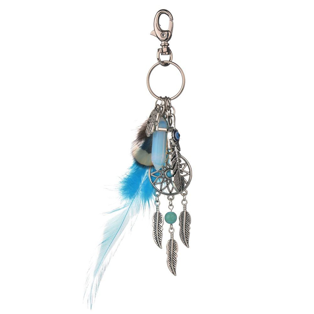 Feather synthetic stone metal plating Pendant (blue)NHBQ0994-blue
