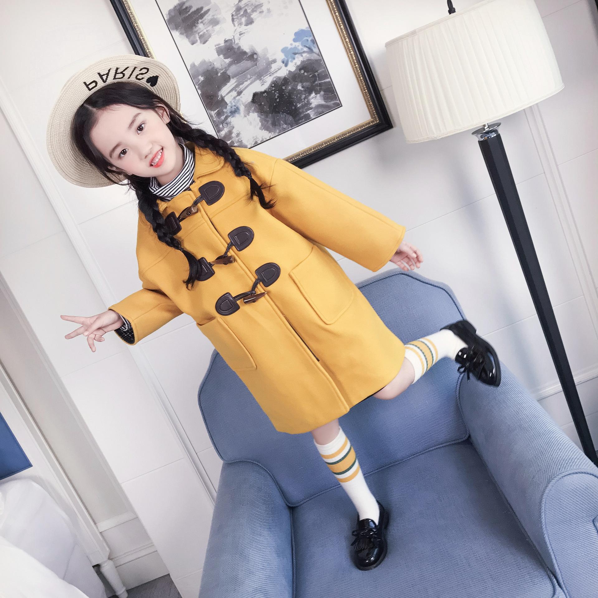 冬季新款女宝宝牛角扣黄色呢大衣时尚百搭保暖款加厚一件包邮