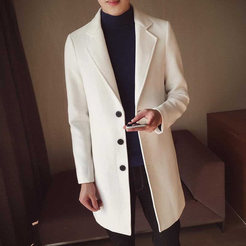 秋冬季新款男士毛呢外套 纯色修身中长款风衣外套韩版毛呢大衣潮