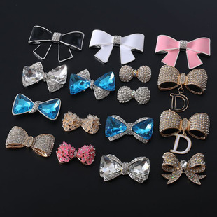 Hot sale drop oil bow tie diamond butterfly combined set diy jewelry accessories mobile phone case beauty materials wholesale