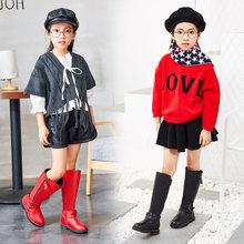 童鞋2019春季新款女童靴子 儿童真皮加绒长靴 韩版公主高筒棉皮靴