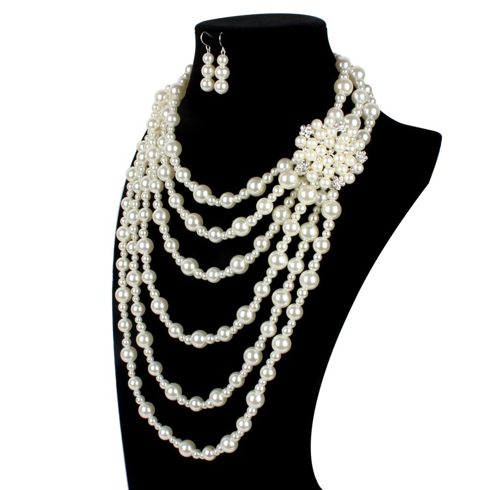 Occident and the United States pearlnecklace (creamy-white)NHCT0008-creamy-white