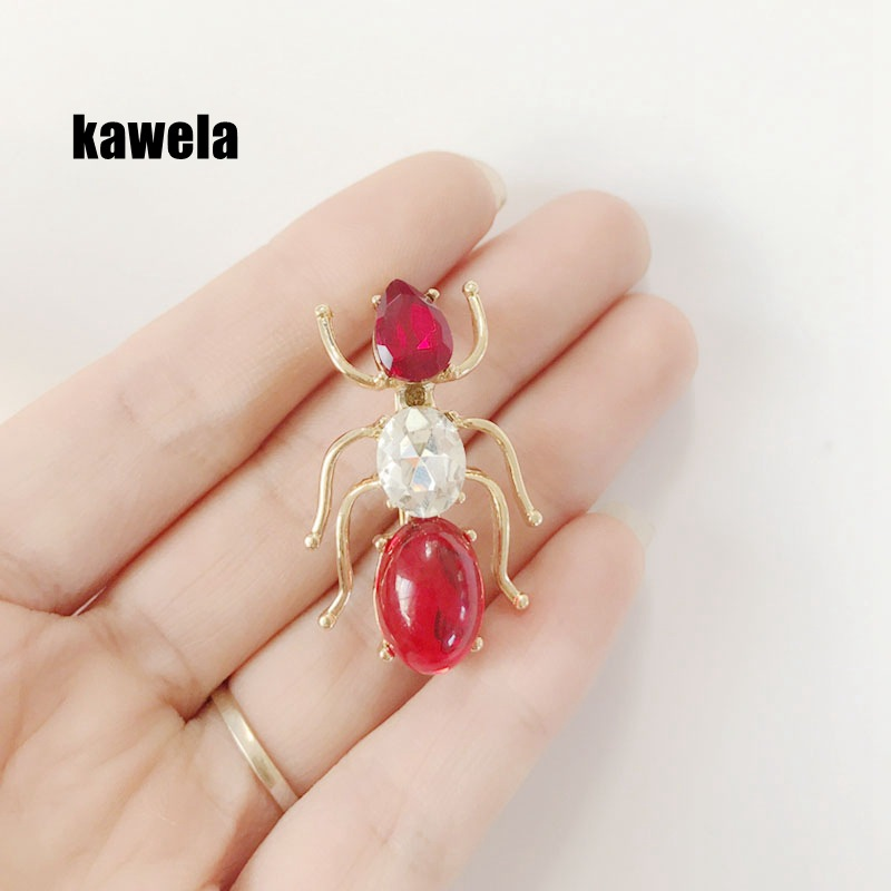 Animal pin brooch cute red gem ant brooch dress collar pin NHOM187996