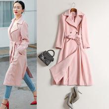 2020秋冬季歐美新款霍思燕同款粉色雙面絨大衣修身系帶呢子外套女