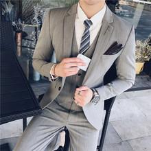 2020爆款降价男士西装三件套韩版修身条纹休闲男理发师西服套装