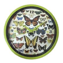 厂家定制 时尚客厅时钟 8寸精美蝴蝶钟表 20cm创意款塑料挂钟