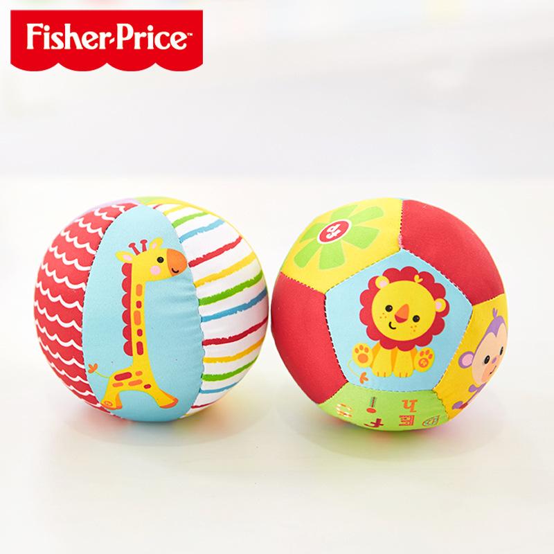 费雪F0806 动物认知球 宝宝手抓球玩具球摇铃球 4寸婴儿玩具布球