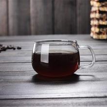 厂家直销耐热玻璃咖啡杯  带把透明功夫茶具花茶杯  厂家直销咖啡