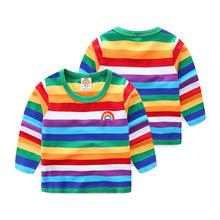 男童T恤純棉春秋兒童圣誕長袖彩虹上衣女童打底衫條紋童T恤