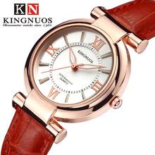 金诺时时尚休闲女士手表真皮表带防水罗马数字夜光外贸款手表