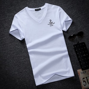 Men's short sleeve T-shirt Collar Shirt Mens youth slim V half sleeve blouse summer student s casual T-shirt