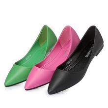 糖果色平跟軟底鞋女 綠色枚紅色淺口尖頭平底單鞋 一件代發
