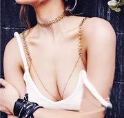 性感小野猫 欧美金属编织bikini身体链 胸链 含颈链 女0222