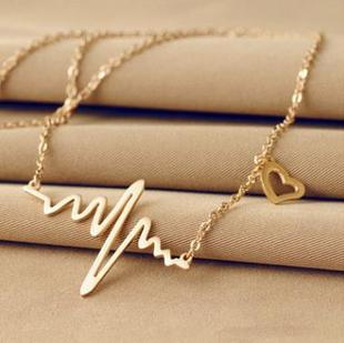 C081 Korean ECG Necklace Love Heart Shaped Titanium Steel Heartbeat Peach Heart Female Pendant Clavicle Chain Color Gold Jewelry