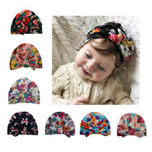 新款2017 欧美婴儿用品时尚蝴蝶结印花套头帽子印度帽 儿童帽子