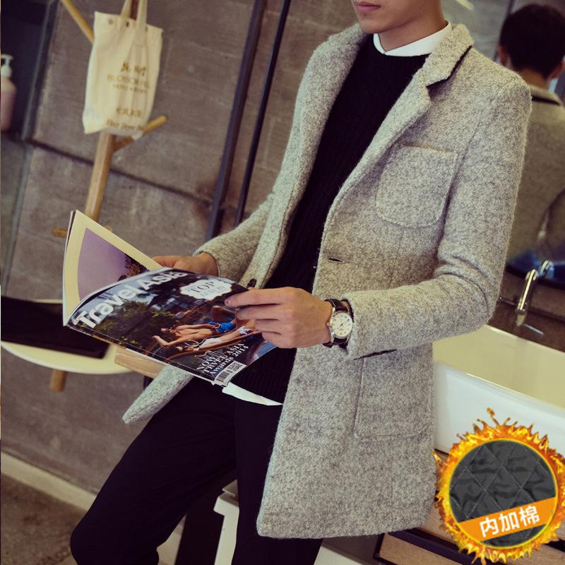 秋冬装毛呢料韩版修身中长款风衣潮男士加棉加厚雪花呢子大衣外套