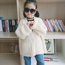 兒童針織開衫新款 女童休閑針織外套 寶寶春秋寬松毛衣開衫