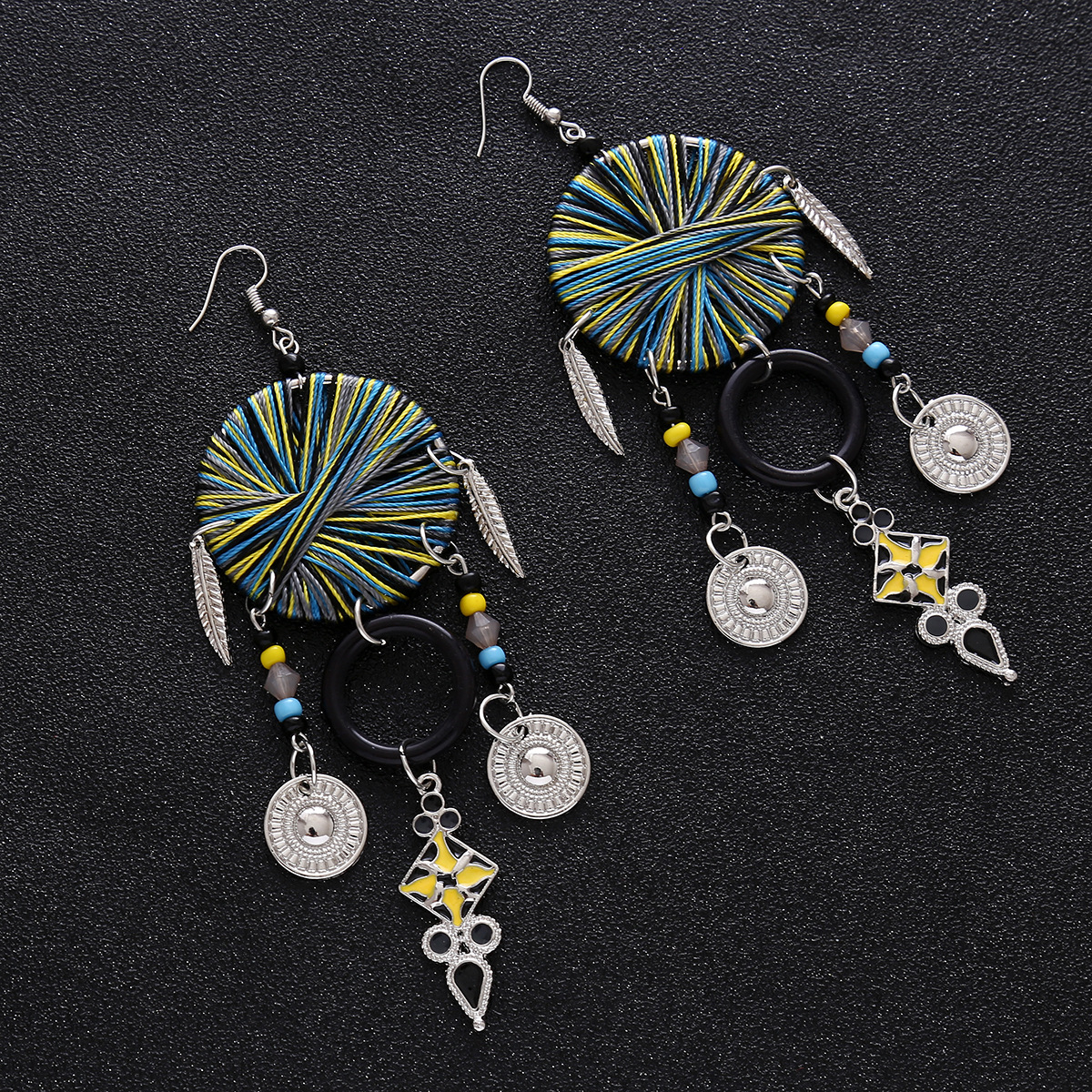 Retro alloy manual earring (Blue color)NHNMD3816-Blue color