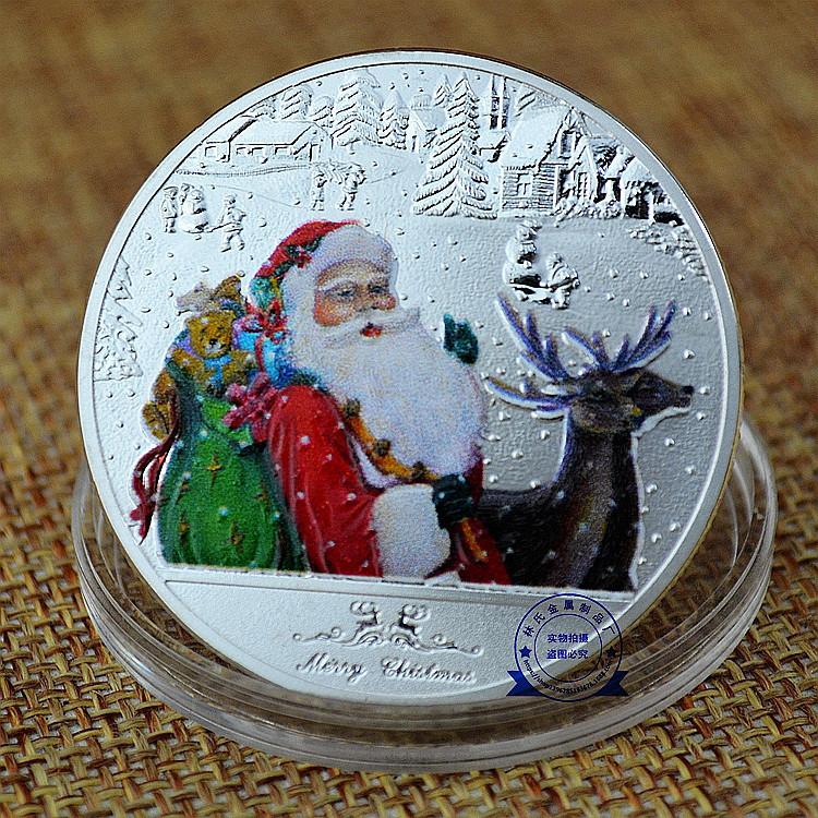 供應圣誕紀念幣 國外金屬紀念幣 烤漆鍍銀紀念幣 鍍金鍍銀紀念幣