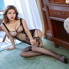 吊帶情趣內衣透視開襠女睡衣露乳連體絲襪誘惑網衣制服