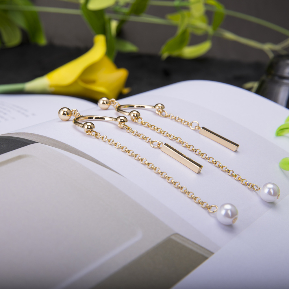 Fashion OL Korean Korean / Korean style Occident and the United States simple alloy plating earring (K gold)NHBJ0293-K gold