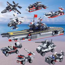 柯乐益智拼装积木军事模型航母战舰八合一儿童智力玩具批发小颗粒