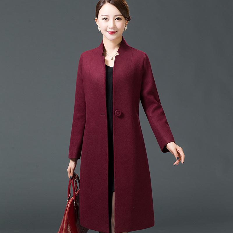 羊毛呢子大衣女毛呢外套修身显瘦过膝中长款韩版秋冬装中年妈妈装