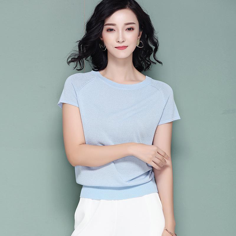 夏季冰丝针织衫女套头宽松短袖t恤潮薄款韩版圆领短款短袖上衣