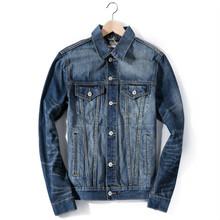 蓝色洗水做旧男装牛仔夹克 男式短外套 一件代发