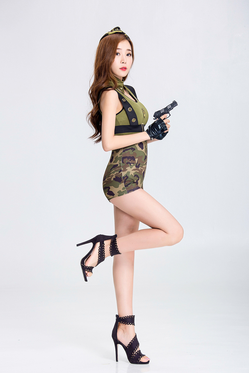 2018 Sexy Nightclub Bar Party Camouflage Military Uniform DS Costume ... 4e755bc61ae5