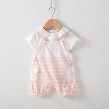 韩版男女宝宝童装 夏季小童条纹吊带背带裤宝宝0-1-2岁开档哈衣