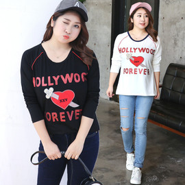 Direct supply to fat sister plus fertilizer XL women's autumn new embroidered T-shirt top 6398