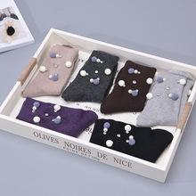 東大門韓版羊毛多色廠家直銷甜美手工珍珠毛絨襪子 批發