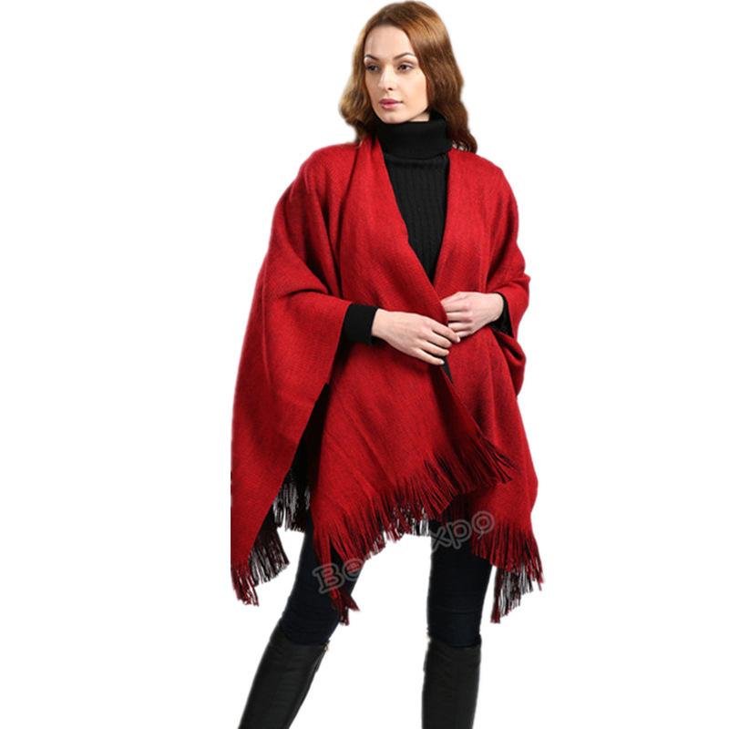 速卖通amazon爆款 欧美针织开叉披肩新款六色可选 双面功能围巾