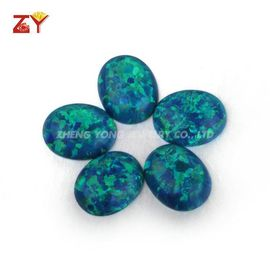OP36 Peacock Blue Egg Shape Flat Synthetic Opal Artificial Opal Bare Stone opal Ring Accessories