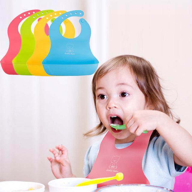 4色嘟来嘟玩TPE仿硅胶围嘴婴幼儿立体防水接饭兜防脏漏宝宝口水巾